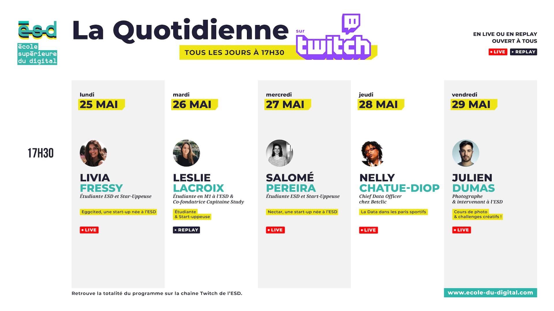 Planning #LaQuotidienneESD du 25 au 29 mai